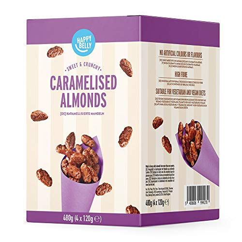 Amazon Marke - Happy Belly Karamellisierte Mandeln, 120g x 4