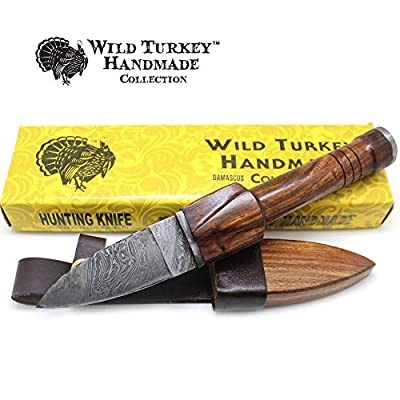 Wild Turkey Handmade Damascus Collection Sgian DM-1171 Dubh Durable Fixed Blade Hunting Knife - Genuine Leather Sheath Included