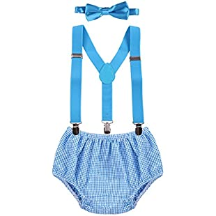 Newborn Infants Baby Boys Kids Toddlers 1st/2nd Birthday Cake Smash Bloomer Shorts Bow Tie Photo Props Formal Gentleman Outfit Suit 3pcs Set:Viralbuzz