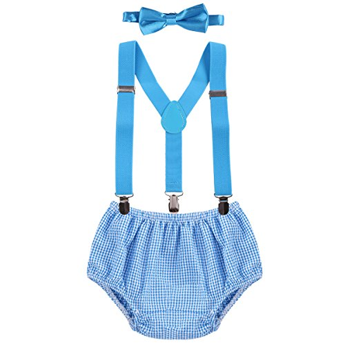 Baby Boys Cake Smash Outfit First Birthday Bloomers Bowtie Adjustable Y Back Suspenders Clothes set Blue Plaid One Size