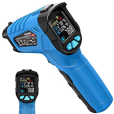 Infrared Thermometer, Acegmet Infrared Thermometer Gun Non-Contact -58?~1022? (-50? ~ 550?) Adjustable Emissivity with Color LCD Screen Digital Temperature Gun Alarm Setting for Cooking BBQ (Renewed)