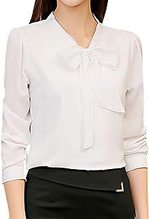 c35b884f6ab688 BingYELH Women s Chiffon Blouse Business Button Down Shirt for Work Office  Tops