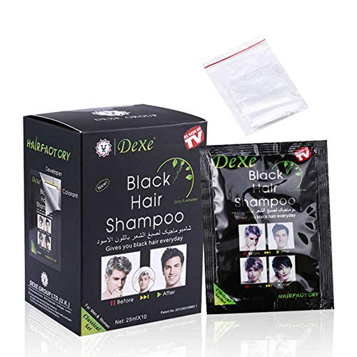 Signature Dexe Black Hair Shampoo 10 Pcs Bags Instant Hair Blackening Dye for Men Women Black Color...