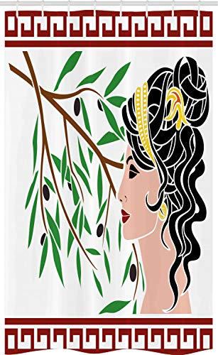 ABAKUHAUS Retro Cortina para baño, Perfil Afrodita, Tela con Estampa Digital Apta Lavadora Incluye Ganchos, 120 x 180 cm, Multicolor