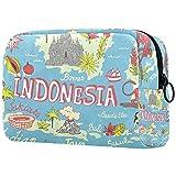 Bolsa De Maquillaje De Viaje Mapa De Indonesia Bolsa De Cosméticos Organizador Portátil Bolso Monedero para Mujeres Y...