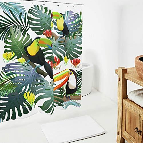 Firelife Blätter Tukan Duschvorhang Tropische Pflanzen Badezimmer Vorhang Anti-Schimmel Wasserdicht Waschbar Polyester Shower Curtains mit Haken Weiß 180x200cm