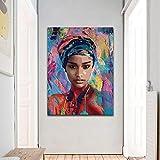 ganlanshu Cartel de la Sala de Arte de la Pared Pintura al óleo Abstracta Figura de Mujer decoración del hogar Pintura,Pintura sin Marco,30X45cm