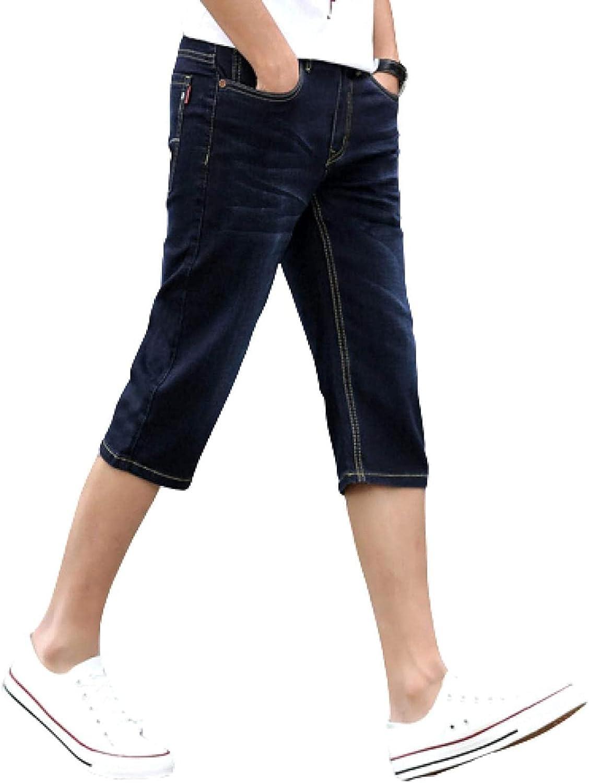 LLTT Men's Stretch Slim Fit Denim Shorts Plain Coloured Five-Pocket Button and