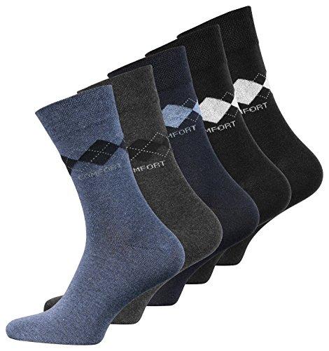 VCA 10 Paar Herren Baumwoll Socken COMFORT Herrensocken verschiedene Modelle (39-42, Karo Dunkel Sortiert (2031))