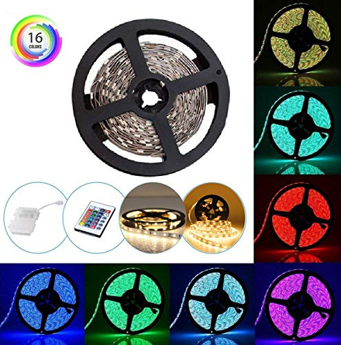 Tira LED RGB Luces con Control Remoto y Caja Impermeable 16 Colores 2M/6.56ft Tira de Luces LED Flexible y Resistente...