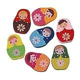 Sadingo - Perlas de madera Matroschka, cuentas para manualidades, perlas para joyas infantiles – 10 unidades – 22 x 16 mm – Mezcla aleatoria