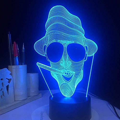 Koele rookende humanoïde tafellamp nachtlampje als feestdagdecoratie en geschenk, illusie-16-kleurennachtlampje, 3D-verlichting, illusie-licht, 16 kleuren, op afstand bediend, maatlicht, optische nachtlampjes