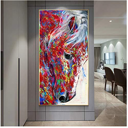 Cuadro de lienzo grande con cabeza de caballo, pintura al óleo de animales, cuadros de pared para sala de estar, carteles artísticos impresos para pared, decoración del hogar
