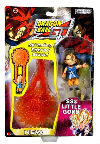 Dragon Ball GT Jakks Pacific Year 2004 Series 3 Inch Tall Action Figure - SS3 Little Goku with Spinning Energy Blast