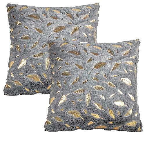 JOTOM Feder Plüsch Kissenbezug, Gold Fell Dekokissen Kissenhülle für Couch Sofa Home Bett Büro Deko, 40 x 40 cm, 2er Set (Grau)