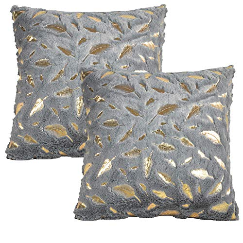 JOTOM Solid Color Gold Feather Plush Fur Throw Pillow Cover,Cushion Cover Pillowcase for Couch Sofa Bed Home Decorative,40 x 40cm,Set of 2 (Grey)
