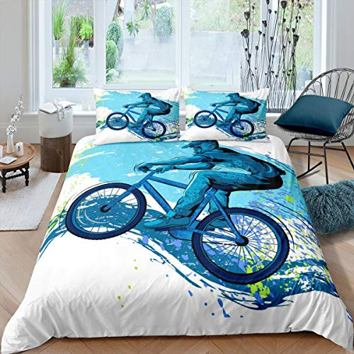 Erosebridal Batik-Bettwäsche-Set, Doppelgröße, Fahrrad-Bettbezug, Mountainbike-Bettdecke, Tagesdecke, blau, für Kinder, Jungen, Teenager, Schlafzimmer, Wohnzimmer, Schlafsaal, Gästezimmer, Dekoration