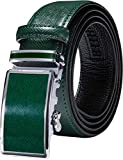 Barry.Wang Solid Green Belt for Men Cowhide Leather with Ratchet Buckle St.Patrick's Day Business Belt