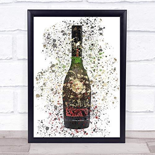 Franse Cognac fles muur kunst ingelijst Print Framed White Small