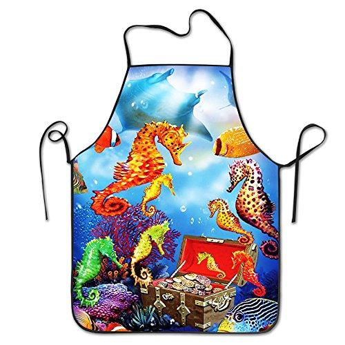 Bajo el agua Tropical océano nueva moda ama de casa hogar Chef cocina Delantal trabajo cocineros cocina cocinar Cook babero Delantal de la mujer