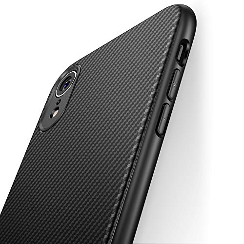 J Jecent iPhone XR Case [Carbon Fiber Texture Design] Ultra Thin Cover with Soft and Protective TPU Rubber Bumper,Slim Fit Silicone Phone Case for Apple iPhone XR 6.1 Inch 2018 - Black