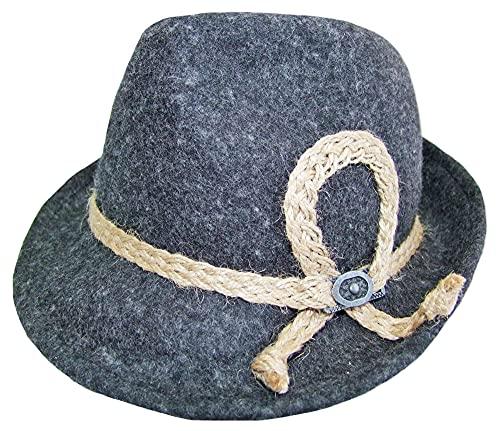 Kinder Trachten Hut mit Zierband Anthrazit Gr. 53 - Schöner Filzhut aus Wolle für Junge Bubn und Madls zur Lederhose aufs Oktoberfest