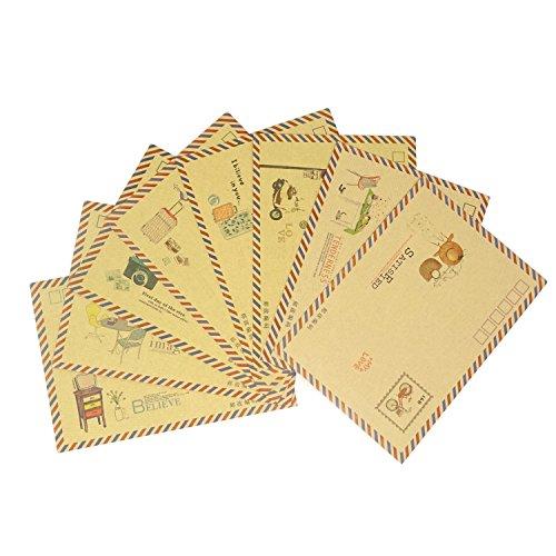 honbay 40Stück 8verschiedene Styles offenen Seite Umschläge Vintage Papier Umschläge Love Buchstaben-Umschläge Einladung Umschläge Geschenk Karte Grußkarte Postkarte Briefumschläge