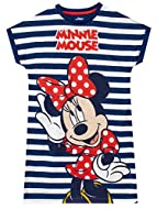 Kids Minnie Mouse nightie H-Ears to Minnie-liscious dreams! This adorable white and navy stripe night dress features Disney's much loved Minnie Mouse in her iconic polka dot outfit with her name just above. Complete with stylish yet cosy rolled up sl...