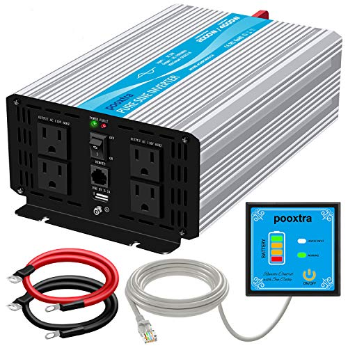 POOXTRA 2000W Pure Sine Wave Power Inverter 24V to 110V 4000W Peak Power Converter with 4 AC Outlets and 2.1A USB Port & Remote Controller for RV Trucks Boats and Emergency