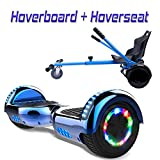 COLORWAY Hoverboard Hover Scooter Board 6,5' con Asiento Kart con Ruedas de Flash LED, Patinete Eléctrico Altavoz Bluetooth y LED, Autoequilibrio de Scooter Eléctrico