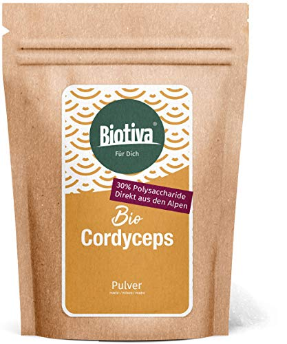 Cordyceps Pulver Bio 125g - 100% Bio - Kernkeulen - Schlauchpilz - Vitalpilz - vegan - ohne Zusatzstoffe - abgefüllt und zertifiziert in Deutschland