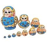 Healifty hölzerne russische Verschachtelungspuppen Blumenmädchen Matryoshka Verschachtelungspuppe 10 Schichten die Puppen stapeln Spielen Handwerksgeschenkausgangsdekoration 10pcs -