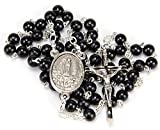 Rosario Madera Negra, Convertible en Colgante Hombre o Collar Mujer. Rosarios Religiosos con Medalla de la Virgen de Fatima y Bolsa para Regalo. Rosario Fatima Madera Negro VF