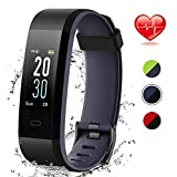 Lintelek Fitness Tracker, Smart Watch Waterproof with Blood Pressure, Activity Tracker with Heart Rate and Sleep Monitor, Gift for Man Woman kids (BKGY)