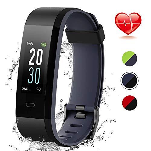 Lintelek Fitness Armband Schrittzähler Fitness Tracker mit Pulsmesser Schlafmonitor Smartwatch Anruf SMS Warnen Sportuhr Wasserdicht IP68 für Herren Damen