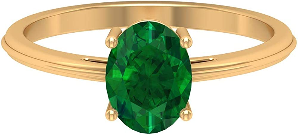 Lab Created Emerald Solitaire Ring 1.26 CT, Gold Engagement Ring (8X6 MM Oval Cut Lab Created Emerald), 14K Gold