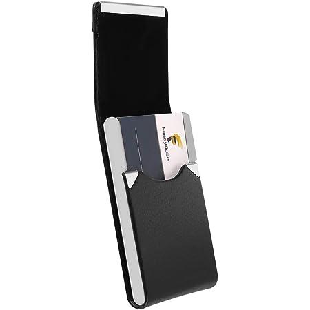 dorisdoll Business Card Holder PU Leather/Stainless Steel with Magnet, Slim Name Card Organiser Case 20 Cards Capacity RFID Blocking Credit Card Wallet (Black)