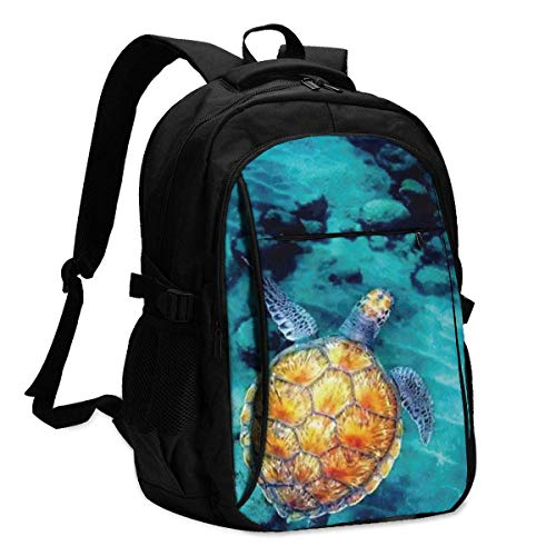 XCNGG Cute Sea Turtle Travel Laptop Mochila College School Bag Mochila Informal con Puerto de Carga USB