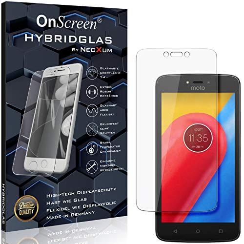 OnScreen Schutzfolie Panzerglas kompatibel mit Lenovo Moto C LTE Panzer-Glas-Folie = biegsames HYBRIDGLAS, Bildschirmschutzfolie, splitterfrei, MATT, Anti-Reflex - entspiegelnd