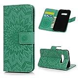 Beaulife Étui portefeuille en cuir PU pour Samsung Galaxy S10 Lite Motif tournesol Vert