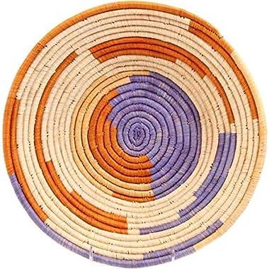 "Fair Trade Uganda African Bukedo & Raffia Bowl 11.5-12.5"" Across, UR5012"
