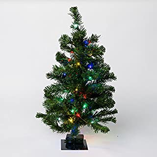 Mr. Light 2 Ft. Pre-Lit Mini Table-Top Christmas Tree. 50 Multicolor LED's, Green Metal Stand + Indoor/Outdoor Battery Box and 6 hr./ 24hr. Electronic Timer.