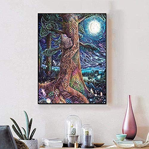 WYXC 5D DIY Diamond Painting Kit Cross Stitch Kit with Rhinestone Man Holding A Tree Perfect Thanksgiving Christmas Halloween New Year Gift
