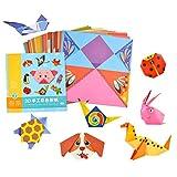 Sysow Papel de Origami, Papel Plegado de Colores de 54 Hojas, Papel de Origami Animado para Bellas Figuras y Formas Plegables, Animal