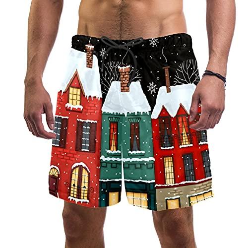 RuppertTextile Pantalones Cortos Hombre Bañadores Secado rápido Bolsillos CordónCalle de Invierno en el Casco Antiguo. Trajes baño Playa Deportivos Casuales