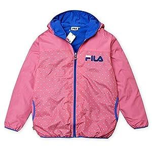 (ピンク 150cm)子供服 女の子 アウター フルジップ パーカー ジャケット 長袖 FILA フィラ 裏フリース ドット柄 カラーパイピング 刺繍 女児 ジュニア