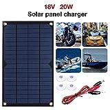 Chargeur Solaire Batterie - Portable Panneau Solaire 18V 20W - Monocristal Chargeant...