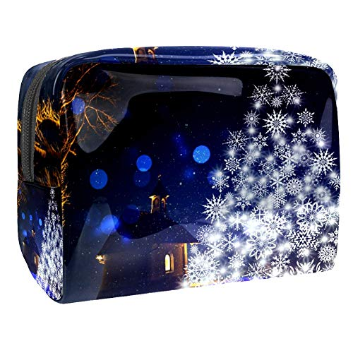 Travel Makeup Bag Portable Cosmetic Case Waterproof Toiletry Bag Large Storage Organizer Pouch for Women and Girls - Christmas Snowflakes Tree