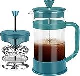 KICHLY - 8 tazas (1 litro / 1000 ml) Cafetera Francesa espresso y tetera con triple filtro émbolo de acero inoxidable (Aqua)