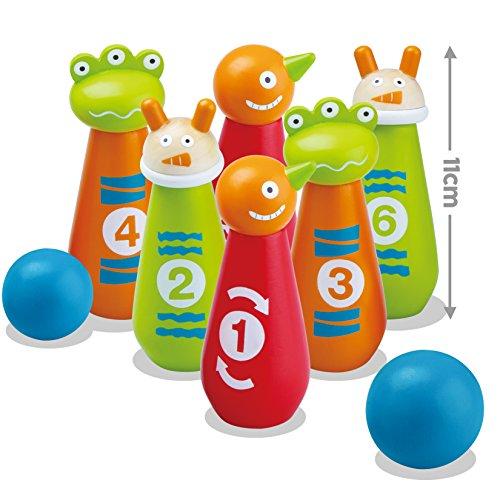 """Kegelspiele kinder, Holz Skittles, """"Monster"""" 8 Stücke (Height 11 cm)"""